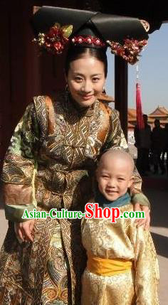 Chinese Qing Dynasty Empress Dowager Ci An Historical Costume Ancient Manchu Queen Mother Dress for Women