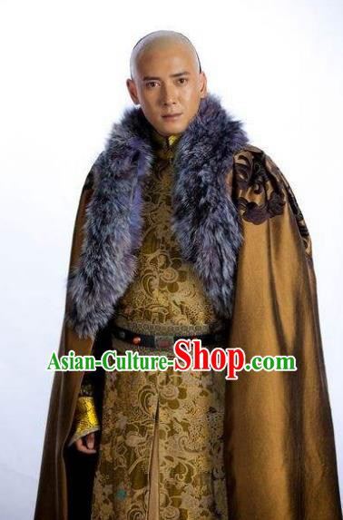 Chinese Ancient Qing Dynasty Manchu Prince Regent Dorgon Historical Costume for Men