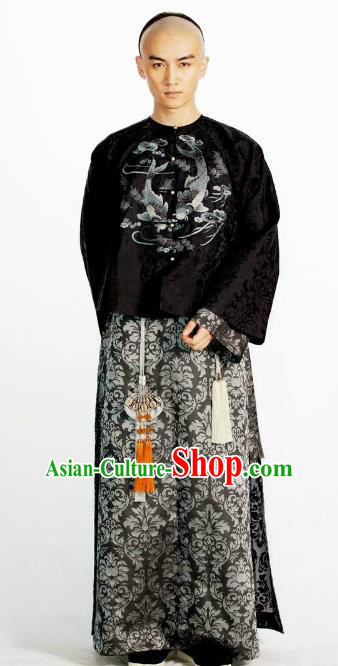 Chinese Qing Dynasty Nine Prince of Kangxi Historical Costume Ancient Manchu Prince Clothing for Men