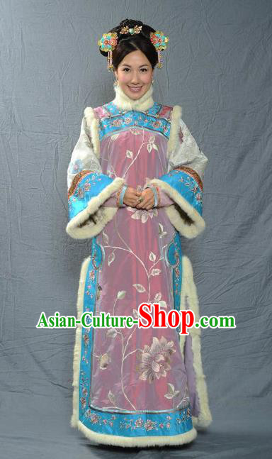 Chinese Qing Dynasty Manchu Imperial Consort of Kangxi Historical Costume Ancient Palace Lady Clothing for Women