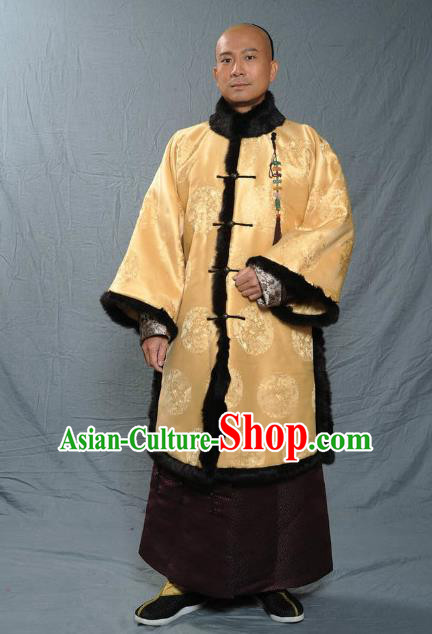 Chinese Qing Dynasty Prince Historical Costume Ancient Manchu Royal Highness Clothing for Men