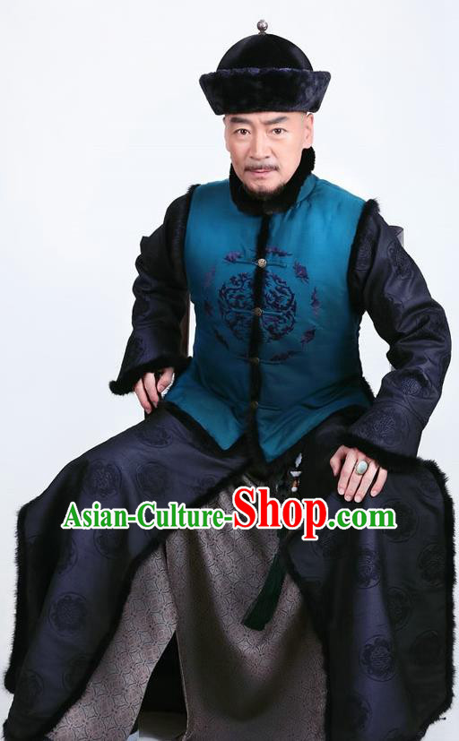Chinese Qing Dynasty Duke Historical Costume Ancient Manchu Royal Highness Clothing for Men