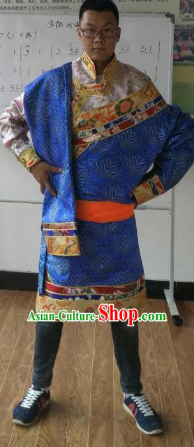 Traditional Chinese Zang Nationality Costume, Tibetan Ethnic Minority Kang-pa Blue Tibetan Robe for Men
