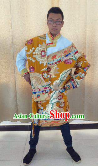 Traditional Chinese Zang Nationality Costume, Tibetan Ethnic Minority Kang-pa Golden Tibetan Robe for Men