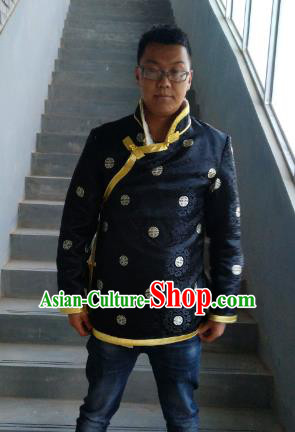 Traditional Chinese Zang Nationality Costume Black Cotton-padded Jacket, Tibetan Ethnic Minority Coat for Men