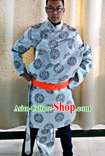Traditional Chinese Zang Nationality Costume, Tibetan Ethnic Minority Kang-pa Grey Tibetan Robe for Men