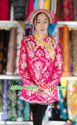 Chinese Tibetan Nationality Dance Costume Pink Coat, Traditional Zang Ethnic Minority Cotton-padded Jacket for Women