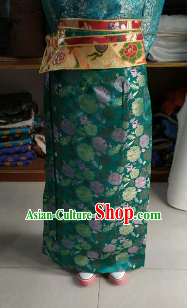 Chinese Tibetan Nationality Costume Green Skirt, Traditional Zang Ethnic Minority Clothing for Women