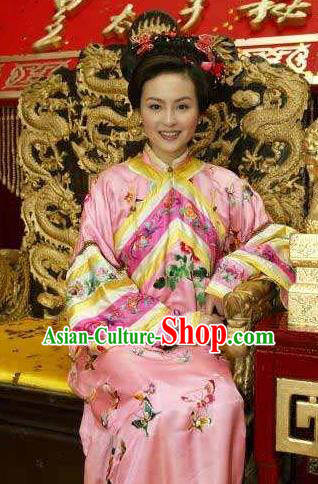 Chinese Ancient Qing Dynasty Imperial Concubine of Kangxi Manchu Dress Historical Costume for Women