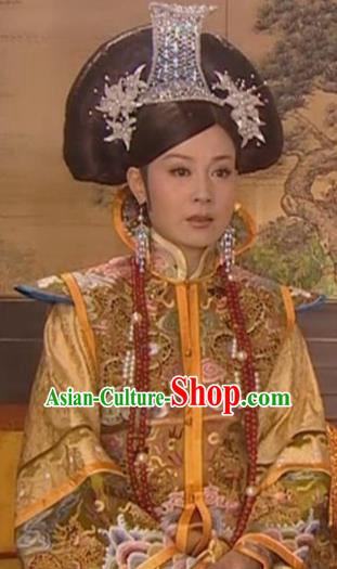 Chinese Ancient Qing Dynasty Empress Dowager of Yongzheng Manchu Dress Historical Costume for Women