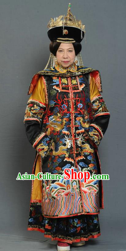 Chinese Ancient Qing Dynasty Empress Dowager Manchu Dress Historical Costume for Women