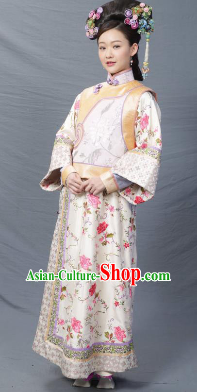 Chinese Ancient Qing Dynasty Imperial Consort Replica Costumes Manchu Dress Historical Costume for Women