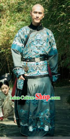 Chinese Qing Dynasty Crown Prince of Kangxi Replica Costumes Ancient Manchu Historical Costume for Men