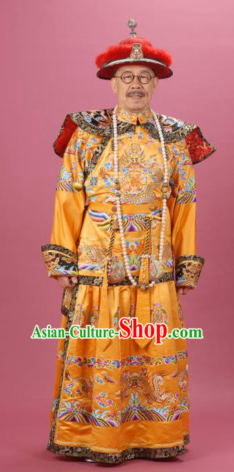 Chinese Qing Dynasty King Replica Costumes Ancient Manchu Emperor Kangxi Historical Costume for Men