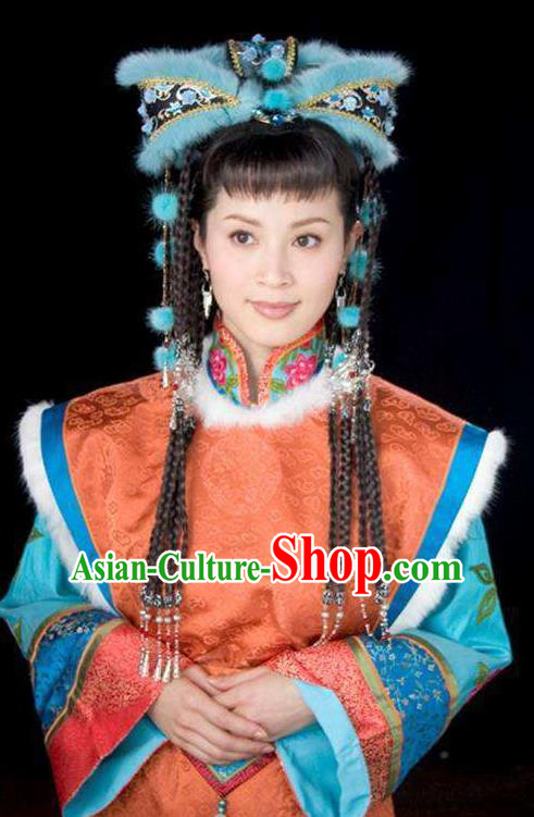 Chinese Ancient Qing Dynasty Empress of Nurhachi Zhezhe Replica Costumes Mongolian Dress Historical Costume for Women