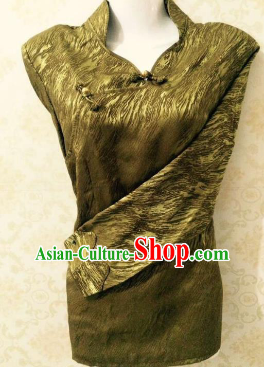 Traditional Chinese Tibetan Nationality Guozhuang Dance Costume, Zang Ethnic Minority Golden Blouse for Women