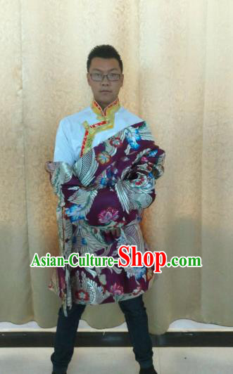 Traditional Chinese Zang Nationality Costume, Tibetan Ethnic Minority Purple Tibetan Robe for Men