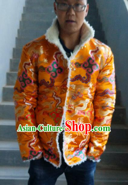 Traditional Chinese Zang Nationality Costume Cotton-padded Jacket, Tibetan Ethnic Minority Golden Coat for Men