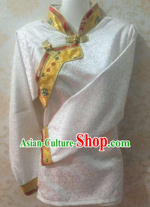 Traditional Chinese Tibetan Nationality Dance Shirts Costume, Zang Ethnic Minority White Blouse for Women