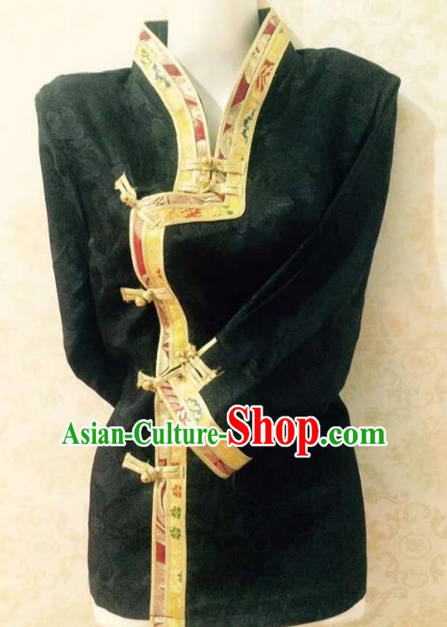 Chinese Tibetan Nationality Costume Black Blouse, Traditional Zang Ethnic Minority Shirts for Women