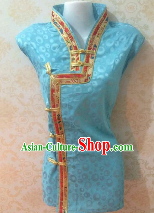 Chinese Tibetan Nationality Costume Blue Blouse, Traditional Zang Ethnic Minority Shirts for Women