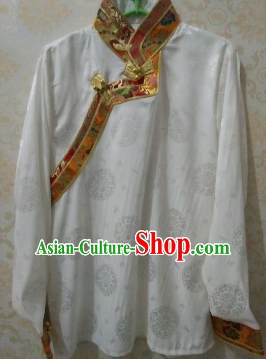 Chinese Tibetan Nationality Costume Blouse, Traditional Zang Ethnic Minority White Shirts for Women