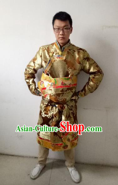 Traditional Chinese Zang Nationality Costume, Tibetan Ethnic Minority Golden Tibetan Robe for Men
