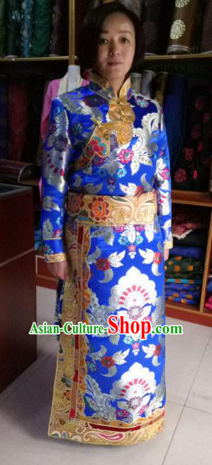 Chinese Tibetan Nationality Costume Royalblue Tibetan Robe, Traditional Zang Ethnic Minority Dress Clothing for Women