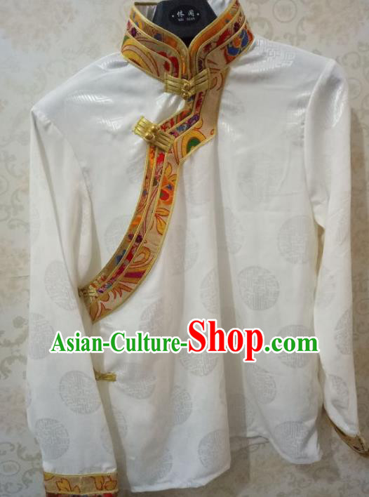 Traditional Chinese Zang Nationality Costume White Shirt, Tibetan Ethnic Minority Coat for Men
