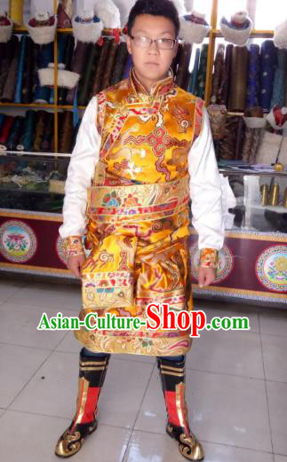 Traditional Chinese Zang Nationality Costume, Tibetan Ethnic Minority Yellow Tibetan Robe for Men