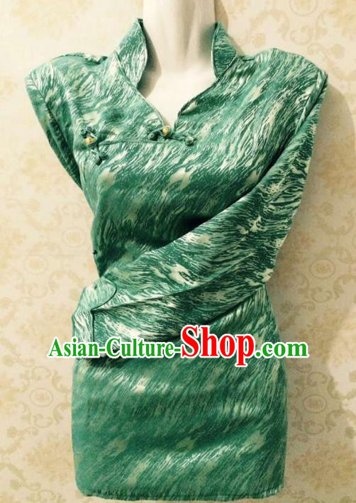 Traditional Chinese Tibetan Nationality Guozhuang Dance Costume, Zang Ethnic Minority Green Blouse for Women