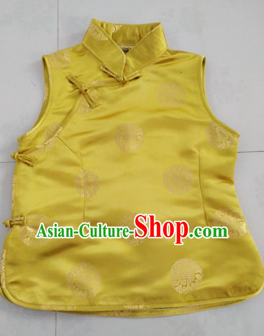 Chinese Tibetan Nationality Costume Yellow Vest, Traditional Zang Ethnic Minority Waistcoat Clothing for Women