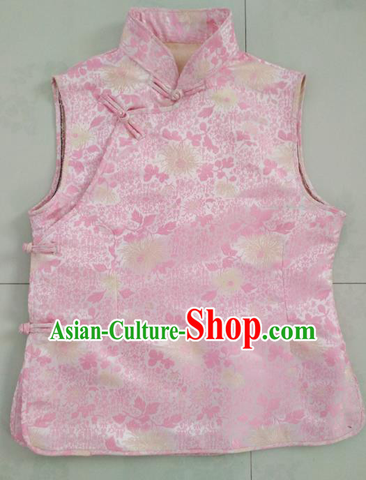 Chinese Tibetan Nationality Costume Pink Vest, Traditional Zang Ethnic Minority Waistcoat Clothing for Women