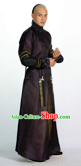 Ancient Chinese Qing Dynasty Nine Prince Yintang Historical Costume Manchu Nobility Childe Clothing for Men