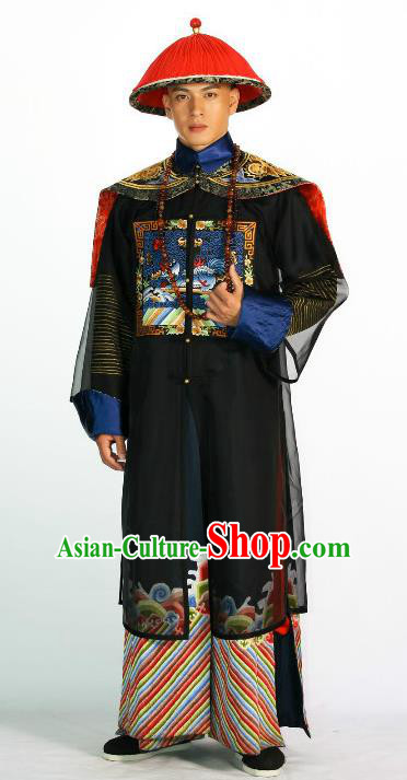 Ancient Chinese Qing Dynasty Manchu Royal Highness Yintang Historical Costume Nine Prince Clothing for Men