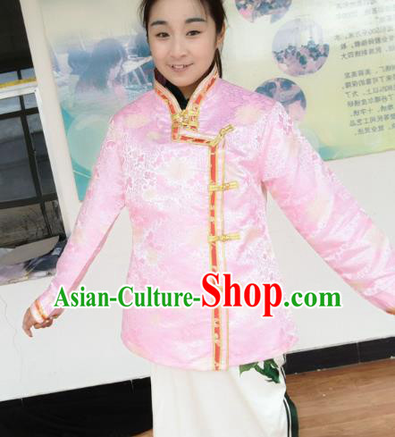 Chinese Tibetan Nationality Costume Pink Blouse, Traditional Zang Ethnic Minority Shirts Clothing for Women