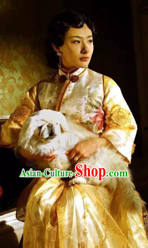 Chinese Qing Dynasty Manchu Queen Wanrong Embroidered Dress Palace Replica Costumes for Women