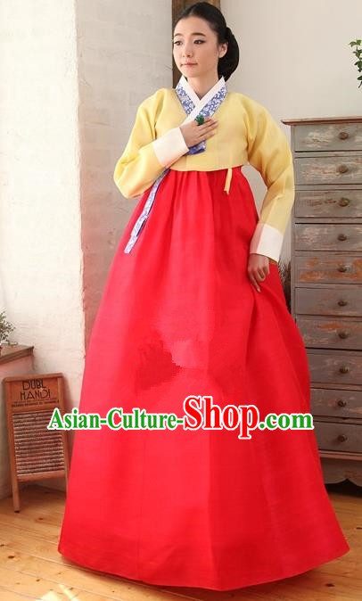 Korean Traditional Palace Garment Hanbok Fashion Apparel Costume Yellow Blouse and Red Dress for Women