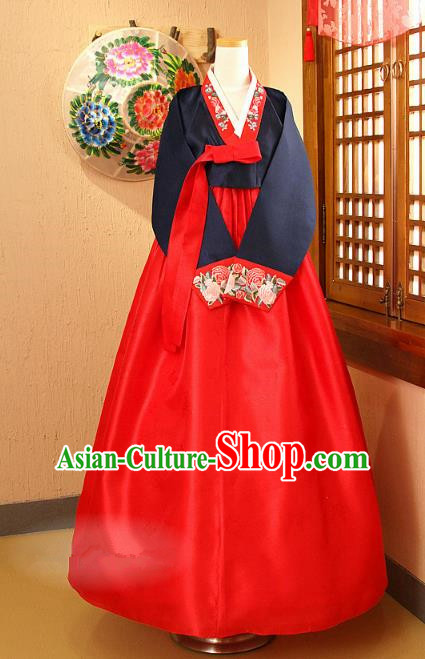 Korean Traditional Palace Garment Hanbok Fashion Apparel Costume Navy Blouse and Red Dress for Women