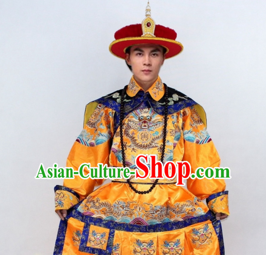 Qing Dynasty Emperor Dragon Robe Clothes for Men