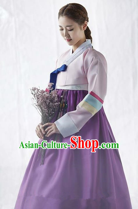Korean Traditional Palace Garment Hanbok Fashion Apparel Costume Bride Pink Blouse and Purple Dress for Women