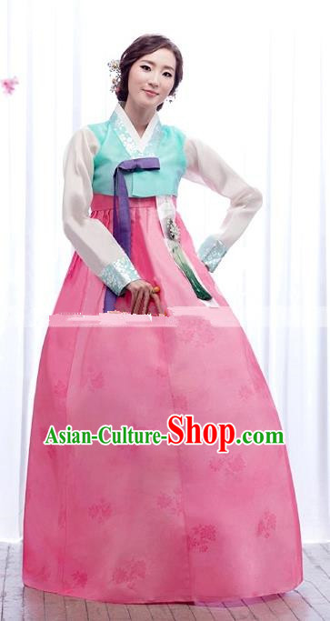 Korean Traditional Palace Garment Hanbok Fashion Apparel Costume Bride Blue Blouse and Pink Dress for Women