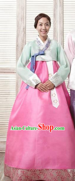 Korean Traditional Garment Palace Hanbok Fashion Apparel Costumes Bride Light Green Blouse and Dress for Women