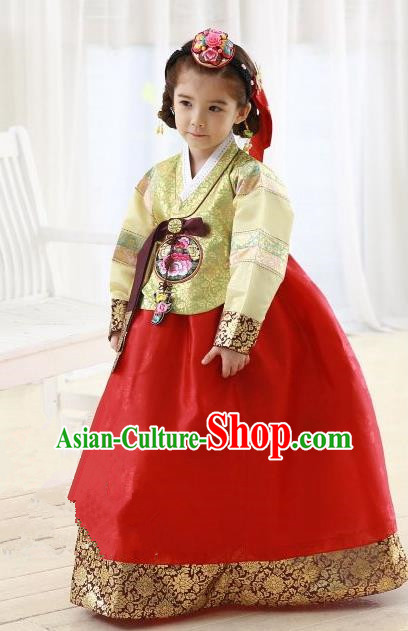 Korean Traditional Hanbok Korea Children Yellow Blouse and Red Dress Fashion Apparel Hanbok Costumes for Kids