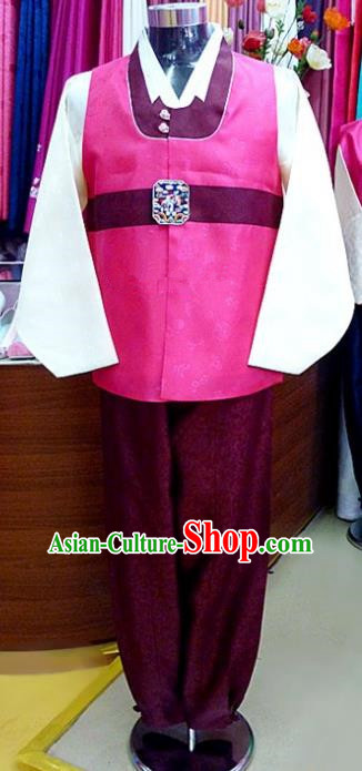 Asian Korean Traditional Hanbok Clothing Ancient Korean Rosy Shirt and Purple Pants Costume for Men