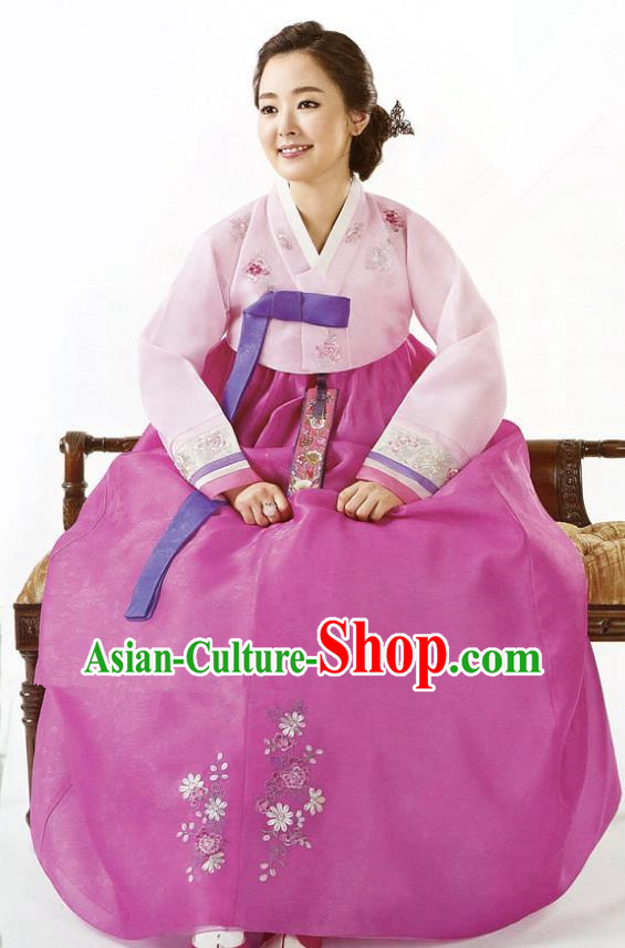 Korean Traditional Garment Palace Hanbok Pink Blouse and Dress Fashion Apparel Bride Costumes for Women
