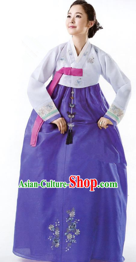 Korean Traditional Garment Palace Hanbok Blouse and Royalblue Dress Fashion Apparel Bride Costumes for Women