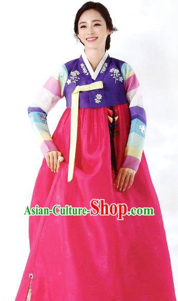 Korean Traditional Garment Palace Hanbok Purple Blouse and Rosy Dress Fashion Apparel Bride Costumes for Women