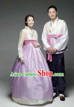 Asian Korean Traditional Hanbok Clothing Ancient Korean Palace Bride and Bridegroom Costumes Complete Set