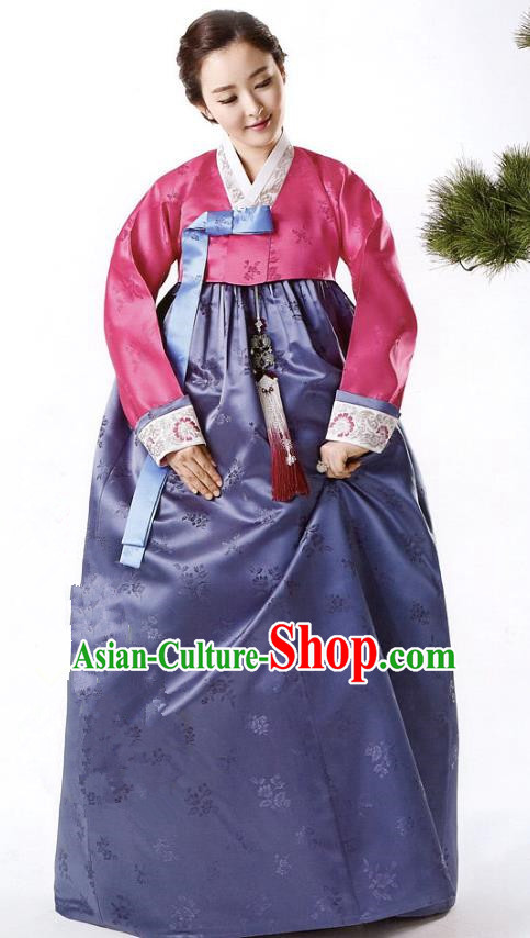 Korean Traditional Handmade Palace Hanbok Rosy Blouse and Purple Dress Fashion Apparel Bride Costumes for Women